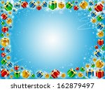 xmas gifts blue background with snowflakes and stars - stock photo
