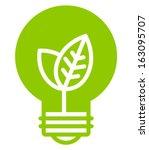 Green ecology light bulb vector icon - stock vector