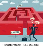 Abstract Businessman embarks on a difficult Maze journey. Great illustration of Retro styled Businessman with a very difficult task ahead of him to find his way through a maze to the other side. - stock vector