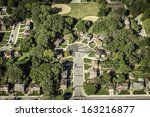 Residential buildings area aerial view - stock photo