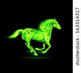 Raster version. Running green fire horse on black background. - stock photo