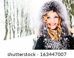 Woman in winter - stock photo