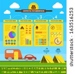 Flat Camping Infographic Elements plus Icon Set. Vector EPS 10. - stock vector