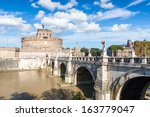 View of Castel Sant'Angelo, also known as Mausoleum of Hadrian, in Rome, Italy. - stock photo