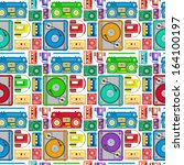 Funky 80's Themed Audio Equipment Seamless Tile. Super retro Styled illustration of Retro Funky 80's Themed Audio Equipment pattern creating a seamless tile. Works as an amazing screensaver.  - stock photo