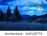 meadow with in high mountains by the forest at night - stock photo