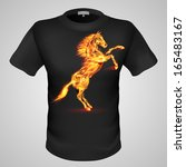 Black male t-shirt with fiery horse print on grey background. - stock vector