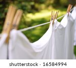 whites hanging from a clothesline - stock photo