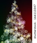 Christmas tree illustration created from different shapes of snowflakes - stock photo