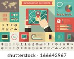Flat Business Infographic Elements plus Icon Set. Vector. - stock vector
