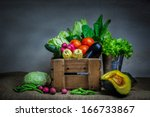 still life vegetable, variety kind of organic fresh vegetable display in wooden crate - stock photo