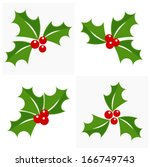 Christmas holly berry icon collection. Vector illustration - stock vector