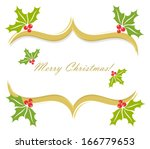 Christmas holly border decoration. Vector greeting card background - stock vector