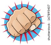 Vintage Pop Art Punching Fist. Great illustration of pop Art comic book style punching directly at you. - stock vector