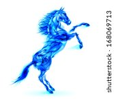 Raster version. Blue fire horse rearing up. Illustration on white background. - stock photo