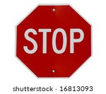 Stop sign isolated on white - stock photo