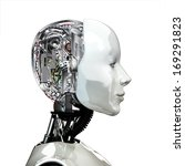 A robot woman head with internal technology ,side view isolated on white background. - stock photo