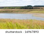river in steppe - stock photo