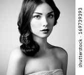 Portrait of young beautiful girl. Fashion photo - stock photo