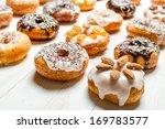 Large group of glazed donuts - stock photo