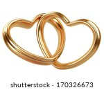 two golden hearts  shape isolated on a white background - stock photo