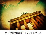 vintage style picture with vignette of the Brandenburg Gate in Berlin - stock photo