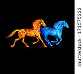 Raster version. Red and blue fire horses in spectrum colors on black background. - stock photo