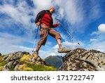 hike in Lofoten,Norway - stock photo