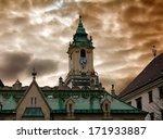 Town hall and dramatic cloudy sky in Bratislava, Slovakia - stock photo
