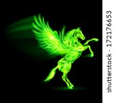 Raster version. Green fire Pegasus rearing up. Illustration on black background - stock photo