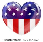 American flag love heart conceprt with the American flag in a heart shape - stock vector