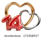 red inscription 14 and two golden hearts shape. 3d an illustration isolated on a white background - stock photo