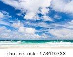Tropical beach and sea on Bahamas island of Eleuthera - stock photo