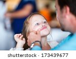Portrait of father and his adorable little daughter  - stock photo