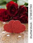 two hearts and roses for valentines day - stock photo