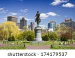 Boston, Massachusetts at the Public Garden in the spring time. - stock photo