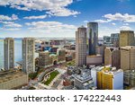 Boston, Massachusetts aerial view and skyline - stock photo
