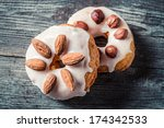 Donuts with almond and hazelnut - stock photo