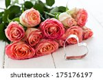 heart shape and roses with copy space  - stock photo