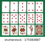 Set of playing cards of Diamonds on green background. The figures are original design as well as the jolly, the ace of spades and the back card.  - stock photo