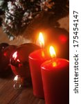 christmas decoration with red christmas candles - stock photo