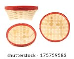 Empty wicker basket with the red edge, isolated over white background, set of three foreshortenings - stock photo