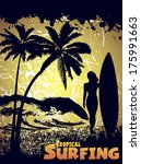 silhouette of a surfer on a tropical beach in grunge style - stock photo