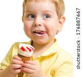 Kid eating ice cream close up portrait - stock photo