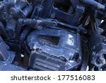very old grunge styled industrial mechanical gear - stock photo