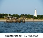 The historic Georgetown Lighthouse located along the Georgetown River in South Carolina. - stock photo