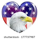 Eagle America love heart concept with and American bald eagle in front of a stars and stripes heart - stock vector