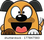 Cute little cartoon puppy, with a big smile, wagging his tail.  - stock vector