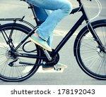 Black bike in profile - stock photo