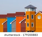 Wooden Houses in various Colors in Groningen, Netherlands - stock photo